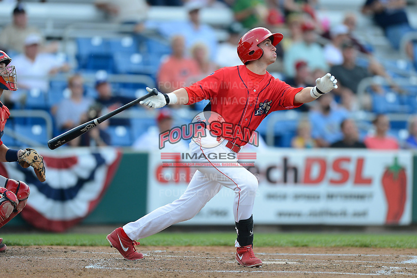 Williamsport Crosscutters outfielder Justin Parr #15 during a game against the Auburn Doubledays on July 8, 2013 at Bowman Field in Williamsport, Pennsylvania.  Auburn defeated Williamsport 5-1.  (Mike Janes/Four Seam Images)