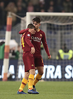 Football, Serie A: AS Roma - InterMilan, Olympic stadium, Rome, December 02, 2018. <br /> Roma's Cengiz Under (r) celebrates after scoring with his teammates Alessandro Florenzi (l) and Nicol&ograve; Zaniolo (r) during the Italian Serie A football match between Roma and Inter at Rome's Olympic stadium, on December 02, 2018.<br /> UPDATE IMAGES PRESS/Isabella Bonotto