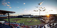 Sunset at Michigan's Ray Fisher Stadium on April 26, 2019 in the NCAA baseball game at Ray Fisher Stadium in Ann Arbor, Michigan. Michigan defeated Rutgers 8-3. (Andrew Woolley/Four Seam Images)