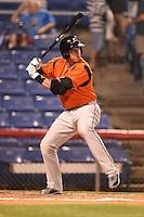 Bowie Baysox outfielder Chris Marrero (33) at bat during a game against the Binghamton Mets on August 3, 2014 at NYSEG Stadium in Binghamton, New York.  Bowie defeated Binghamton 8-2.  (Mike Janes/Four Seam Images)