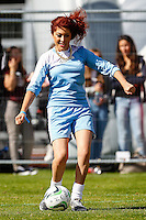 London, UK on Sunday 31st August, 2014. Jessica Steele in action during the Soccer Six charity celebrity football tournament at Mile End Stadium, London. during the Soccer Six charity celebrity football tournament at Mile End Stadium, London.