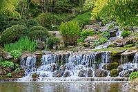 France, Cher (18), Apremont-sur-Allier, labellisé Plus Beaux Villages de France, Parc Floral d'Apremont-sur-Allier, la cascade