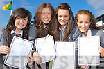 Danielle O'Sullivan Milltown, Kaelin Fox Glenbeigh, Aoife Johnston Killorglin and Oonagh Gleeson Firies who were ecstatic with their Junior Cert results in the Intermediatte School Killorglin on Wednesday  ..