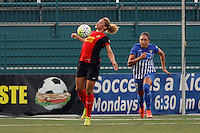 Rochester, NY - Friday May 27, 2016: Western New York Flash forward Lynn Williams (9) is trailed by Boston Breakers forward Kyah Simon (17). The Western New York Flash defeated the Boston Breakers 4-0 during a regular season National Women's Soccer League (NWSL) match at Rochester Rhinos Stadium.