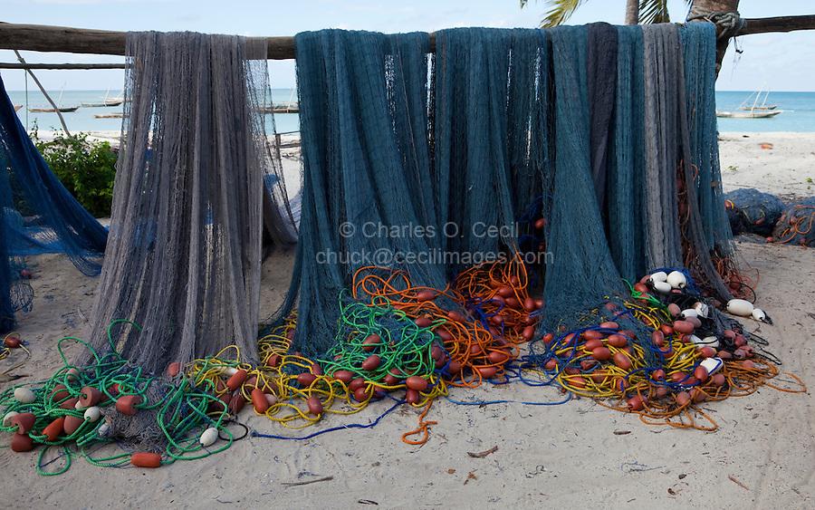 Nungwi, Zanzibar, Tanzania.  Fish Nets Drying.