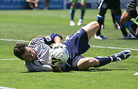 Joe Cannon makes the save. The San Jose Earthquakes defeated Seattle Sounders FC 4-0 at Buck Shaw Stadium in Santa Clara, California on August 2, 2009.