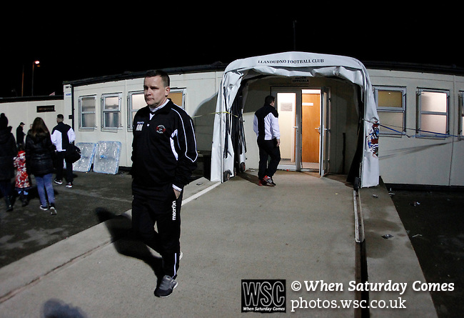 Llandudno 2 Denbigh Town 2, 20/03/2015. Maesdu Park, Huws Gray Alliance Football League. <br /> Alan Morgan Llandudno manager leaves the dressing rooms to do a TV interview in Welsh. Needing a win to guarantee promotion to the top division of Welsh football for the first time, Llandudno took the lead twice, but were held to a draw against Denbigh Town.<br /> Llandudno installed an artificial 3G pitch in 2014. The pitch is available for hire, and enables to club to have an active community programme, and teams in every age range, all playing at Maesdu Park. Photo by Paul Thompson.