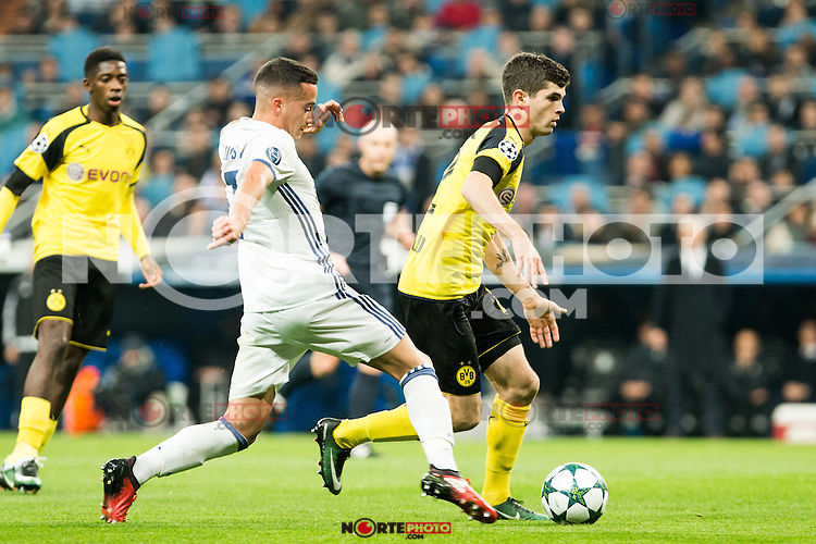 Real Madrid's Lucas Vazquez, Borussia Dortmund Julian Weigl during Champions League match between Real Madrid and Borussia Dortmund  at Santiago Bernabeu Stadium in Madrid , Spain. December 07, 2016. (ALTERPHOTOS/Rodrigo Jimenez) /NortePhoto.com