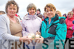 LIGHTING: Smiles by Catherine Raftery, Margaret O'Sullivan and Julette McCroghan as they managed to light their Candles of Light on Banna Strand, Friday evening in conjuction with the Celebration of Light to raise funds for the Recovery Haven, Killerisk, Tralee.
