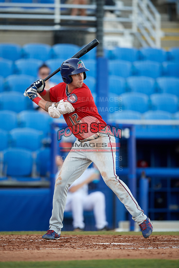 Fort Myers Miracle center fielder Aaron Whitefield (12) at bat during a game against the Dunedin Blue Jays on April 17, 2018 at Dunedin Stadium in Dunedin, Florida.  Dunedin defeated Fort Myers 5-2.  (Mike Janes/Four Seam Images)
