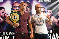 Chris Eubank Jnr (L) and Arthur Abraham during a Press Conference at the Sky Bar, Hilton Hotel on 13th July 2017