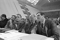 Milano, 16 feb 1985, convegno Partito Socialista Italiano al Palalido, da destra: Giorgio Benvenuto, Sandro Antoniazzi, Pierre Carniti, sindacalisti.<br /> Milan, February 16 1985, Convention of the Italian Socialist Party, from right: Giorgio Benvenuto, Sandro Antoniazzi, Pierre Carniti, trade unionists.
