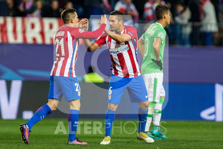 Atletico de Madrid's Kevin Gameiro, Koke Resurrecccion  during the Champions League match between Atletico de Madrid and PSV Eindhoven at Vicente Calderon Stadium in Madrid , Spain. November 23, 2016. (ALTERPHOTOS/Rodrigo Jimenez)
