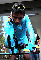 PAIPA - COLOMBIA- 19 - 02 - 2016: Miguel Angel Lopez, ciclista boyacense, del Equipo Astana, durante la prueba contrarreloj individual entre las ciudades de Paipa y Duitama en una distancia de 35,2 kilometros de Los Campeonato Nacionales de Ciclismo en la categoría Elite, que se realizan en Boyaca. / Miguel Angel Lopez, boyacense cyclist, of the Astana´s Team during the individual time trial between the towns of Paipa and Duitama at a distance of 35.2 km of the National Cycling Championships in category Elite, performed in Boyaca. / Photo: VizzorImage / Cesar Melgarejo  / Cont.