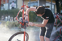 Trek-Segafredo mechanic Jeroen Heymans cleaning the bikes after the stage<br /> <br /> 100th Giro d'Italia 2017