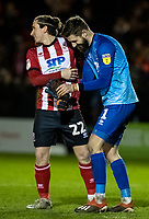 Lincoln City's goalkeeper Josh Vickers celebrates victory with team mate Aaron Lewis (left) <br /> <br /> Photographer Andrew Kearns/CameraSport<br /> <br /> The EFL Sky Bet League One - Lincoln City v Bolton Wanderers - Tuesday 14th January 2020  - LNER Stadium - Lincoln<br /> <br /> World Copyright © 2020 CameraSport. All rights reserved. 43 Linden Ave. Countesthorpe. Leicester. England. LE8 5PG - Tel: +44 (0) 116 277 4147 - admin@camerasport.com - www.camerasport.com