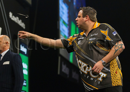 31.03.2016. The Motorpoint Arena, Cardiff.  Betway PDC Premier League Darts Judgement Night. Adrian Lewis in action against Robert Thornton