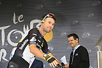 Mark Cavendish (GBR) Team Dimension Data at sign on in Dusseldorf before the start of Stage 2 of the 104th edition of the Tour de France 2017, running 203.5km from Dusseldorf, Germany to Liege, Belgium. 2nd July 2017.<br /> Picture: Eoin Clarke | Cyclefile<br /> <br /> <br /> All photos usage must carry mandatory copyright credit (&copy; Cyclefile | Eoin Clarke)