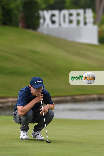 Matt Fitzpatrick (ENG) lines up his birdie putt on 16 during round 1 of the 2019 Charles Schwab Challenge, Colonial Country Club, Ft. Worth, Texas,  USA. 5/23/2019.<br /> Picture: Golffile   Ken Murray<br /> <br /> All photo usage must carry mandatory copyright credit (© Golffile   Ken Murray)
