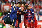 FC Barcelona's Luis Suarez (c) injured in presence of Neymar Santos Jr (l) and Leo Messi during Spanish Kings Cup Final match. May 22,2016. (ALTERPHOTOS/Acero)