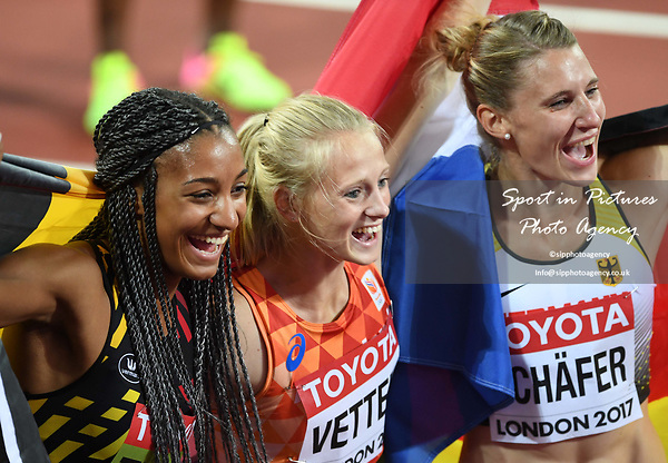 (l to r) Nafissatou Thiam (BEL, winner), Anouk Vetter (NED, 3rd) and Carolin Schafer (GER, 2nd) celebrate at the end of the womens heptathlon. IAAF world athletics championships. London Olympic stadium. Queen Elizabeth Olympic park. Stratford. London. UK. 06/08/2017. ~ MANDATORY CREDIT Garry Bowden/SIPPA - NO UNAUTHORISED USE - +44 7837 394578