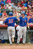 St. Lucie Mets left fielder Tim Tebow (15) high fives Patrick Mazeika (11) after hitting a home run in the top of the fourth inning during a game against the Florida Fire Frogs on July 23, 2017 at Osceola County Stadium in Kissimmee, Florida.  St. Lucie defeated Florida 3-2.  (Mike Janes/Four Seam Images)