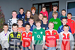 """Killorglin Rugby club players who received medals at the club annual awards night in the Intermediate.School Killorglin on Friday night front row l-r: Ethan Griffin, Pierce O'Meara, Jack O'Grady, Aaron Heffernan, Eoin Doyle. Second row: Brice Dourieu, Jack O'Shea, Daire O""""Sullivan, Michael O'Connor, Oisin Daly. Third row: Jamie Naughton, Marie O'Connor, Jamie O'Shea, Evan Cotter, Muiris Fitzgerald. Back row: Michael O'Leary, Tommy Eadie, Jim Sugrue, Shane O'Neill and Blaine McCarthy.."""