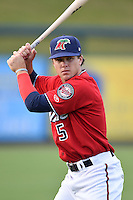 Fort Myers Miracle Tanner Vavra (5) warms up before a game against the Tampa Yankees on April 15, 2015 at Hammond Stadium in Fort Myers, Florida.  Tampa defeated Fort Myers 3-1 in eleven innings.  (Mike Janes/Four Seam Images)