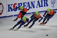 SCHAATSEN: DORDRECHT: Sportboulevard, Korean Air ISU World Cup Finale, 11-02-2012, Jung-Su Lee KOR (53), Remi Beaulieu-Tinker CAN (7), Freek van der Wart NED (63), Sjinkie Knegt NED (62), ©foto: Martin de Jong