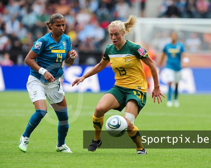 Fifa Women's World Cup Germany 2011 : Brazil - Australia  at Borussia - Park in Munchengladbach : Tameka Butt aan de bal voor Fabiana..foto DAVID CATRY / Vrouwenteam.be