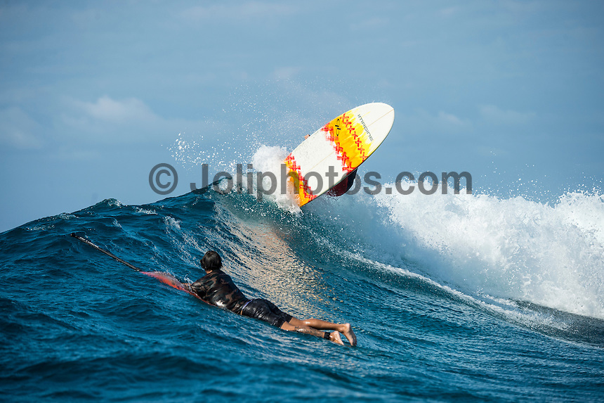 Kamp Kalama, Namotu Island Resort , Fiji. (Sunday November 1, 2015) There was a mix of winds today with strong SE Trades early before easing off mid morning and then they swung to the South West  and kicked back up late morning. The swell was in the 5'+ range with surf session at Namotu Lefts and Swimming Pools.  Photo: joliphotos.com