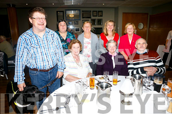 Enjoying the NCBI Lunch at Ballyroe Heights Hotel on Monday were James Fitzgerald with Yaser, Helen Fitzgerald, Maureen O'Connor, Sr. Frances, Patsy Dalton, Noreen Dalton, Dolores O Reilly and lily O'Reilly