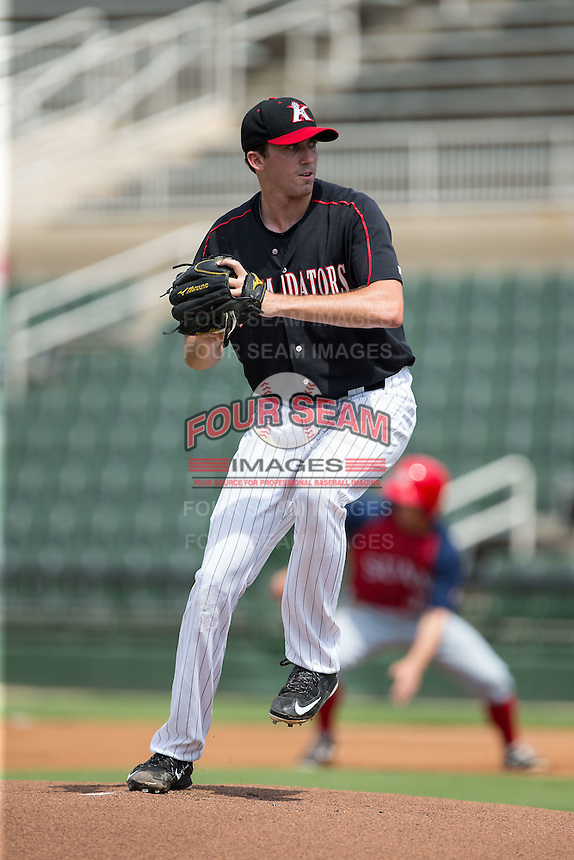 Kannapolis Intimidators starting pitcher Zach Thompson (40) in action against the Hagerstown Suns at CMC-Northeast Stadium on August 16, 2015 in Kannapolis, North Carolina.  The Suns defeated the Intimidators 7-2 in game one of a double-header.  (Brian Westerholt/Four Seam Images)