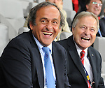 06.09.2011, Ernst Happel Stadion, Wien, AUT, UEFA EURO 2012, Qualifikation, Oesterreich (AUT) vs Tuerkei (TUR), im Bild OEFB Praesident Leo Windtner und UEFA Praesident Michel Platini und OEFB-Praesident Leo Windtner // during the UEFA Euro 2012 Qualifier Game, Austria vs Turkey, at Ernst Happel Stadium, Vienna, 2011-09-06, EXPA Pictures © 2011, PhotoCredit: EXPA/ M. Gruber