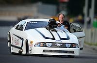 Jun. 15, 2012; Bristol, TN, USA: NHRA pro mod driver Mike Janis during qualifying for the Thunder Valley Nationals at Bristol Dragway. Mandatory Credit: Mark J. Rebilas-