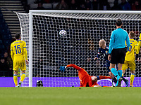 19th November 2019; Hampden Park, Glasgow, Scotland; European Championships 2020 Qualifier, Scotland versus Kazakhstan; Steven Naismith of Scotland scores Scotlands second goal for 2-1 in the 64th minute - Editorial Use