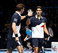 Pierre-Hugues Herbert and Nicolas Mahut  in action against Oliver Marach and Mate Pavic <br /> <br /> Photographer Hannah Fountain/CameraSport<br /> <br /> International Tennis - Nitto ATP World Tour Finals Day 2 - O2 Arena - London - Monday 12th November 2018<br /> <br /> World Copyright &copy; 2018 CameraSport. All rights reserved. 43 Linden Ave. Countesthorpe. Leicester. England. LE8 5PG - Tel: +44 (0) 116 277 4147 - admin@camerasport.com - www.camerasport.com