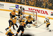 June 5th 2017, Nashiville, TN, USA;  Nashville Predators goalie Pekka Rinne (35) makes a pad save on Pittsburgh Penguins left wing Conor Sheary (43) during Game 4 of the Stanley Cup Final between the Nashville Predators and the Pittsburgh Penguins, held on June 5, 2017, at Bridgestone Arena in Nashville, Tennessee.