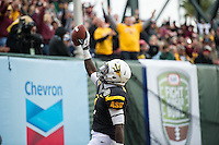 SAN FRANCISCO, CA - December 29, 2012: Arizona State running back Marion Grice (1) celebrates his touchdown during the Navy Midshipmen vs the Arizona State Sun Devils in the 2012 Kraft Fight Hunger Bowl at AT&T Park in San Francisco, California. Final score Navy 28, Arizona State 62.