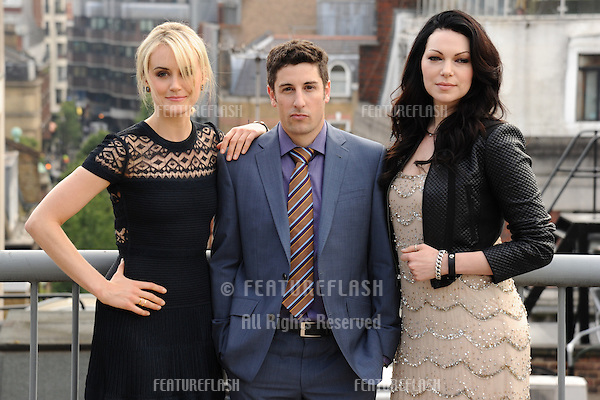 Taylor Schilling, Jason Biggs and Laura Prepon<br /> at the &quot;Orange is the New Black&quot; photocall, Soho Hotel, London. 29/05/2014 Picture by: Steve Vas / Featureflash