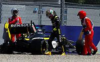 10th July 2020; Styria, Austria; FIA Formula One World Championship 2020, Grand Prix of Styria free practice sessions;  3 Daniel Ricciardo AUS, Renault DP World F1 Team, has a heavy wall crash in Spielberg Austria and walks away with a limp