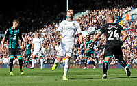Leeds United's Pablo Hernandez is tackled by Swansea City's Jake Bidwell<br /> <br /> Photographer Alex Dodd/CameraSport<br /> <br /> The EFL Sky Bet Championship - Leeds United v Swansea City - Saturday 31st August 2019 - Elland Road - Leeds<br /> <br /> World Copyright © 2019 CameraSport. All rights reserved. 43 Linden Ave. Countesthorpe. Leicester. England. LE8 5PG - Tel: +44 (0) 116 277 4147 - admin@camerasport.com - www.camerasport.com