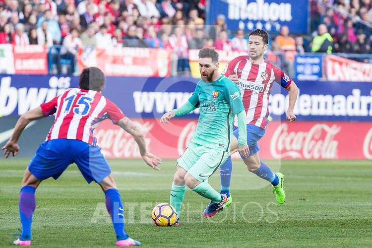 Leo Messi of Futbol Club Barcelona in action  during the match of Spanish La Liga between Atletico de Madrid and Futbol Club Barcelona at Vicente Calderon Stadium in Madrid, Spain. February 26, 2017. (ALTERPHOTOS)