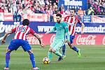 Leo Messi of Futbol Club Barcelona in action  during the match of Spanish La Liga between Atletico de Madrid and Futbol Club Barcelona at Vicente Calderon Stadium in Madrid, Spain. February 26, 2017. (ALTERPHOTOS)