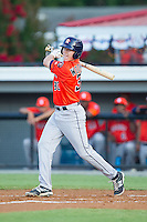 Trent Woodward (30) of the Greeneville Astros follows through on his swing against the Burlington Royals at Burlington Athletic Park on June 30, 2014 in Burlington, North Carolina.  The Royals defeated the Astros 9-8. (Brian Westerholt/Four Seam Images)