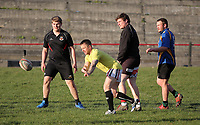 FAO STEWART HUNTER, DAILY MAIL SPORTS PICTURE DESK<br /> Pictured: Dean Williams (in yellow), the brother of Shane Williams, training at Amman United RFC in Cwmamman, Wales, UK. Thursday 13 April 2017<br /> Re: Former Wales international rugby player Shane Williams is to make another comeback as part of the Amman United team that contests a final at the Principality Stadium in Cardiff on Saturday.<br /> 40 year old Williams, Wales' record try scorer has been named in his local village side that will take on Caerphilly in the National Bowl final, having recovered from a fractured jaw in the semi-final win against Cardigan after almost five years since Williams last played for the Barbarians against Wales.<br /> He retired from the Test scene after a defeat to Australia in 2011, immediately after Wales had reached the semi-final of the World Cup of that year.