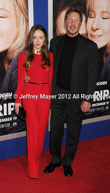 WESTWOOD, CA - DECEMBER 11: Larry Ellison and guest arrive at the 'The Guilt Trip' - Los Angeles Premiere at Regency Village Theatre on December 11, 2012 in Westwood, California.