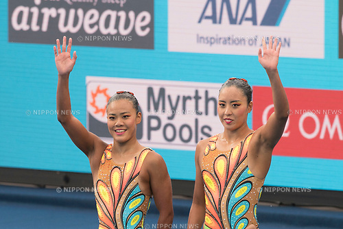 Yukiko Inui, Mai Nakamura (JPN), JULY 14, 2017 - Synchronized Swimming : 17th FINA World Championships 2017 Budapest Women's Duet Technical Routine Preliminary round at City Park - Varosliget Lake in Budapest, Hungary. (Photo by Enrico Calderoni/AFLO)