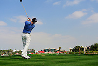 Niclas Fasth (SWE) tees off on the 9th tee during Thursday's Round 1 of the HSBC Golf Championship at the Abu Dhabi Golf Club, United Arab Emirates, 26th January 2012 (Photo Eoin Clarke/www.golffile.ie)