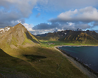 Mountain view over Unstad beach, Vestvågøy, Lofoten Islands, Norway